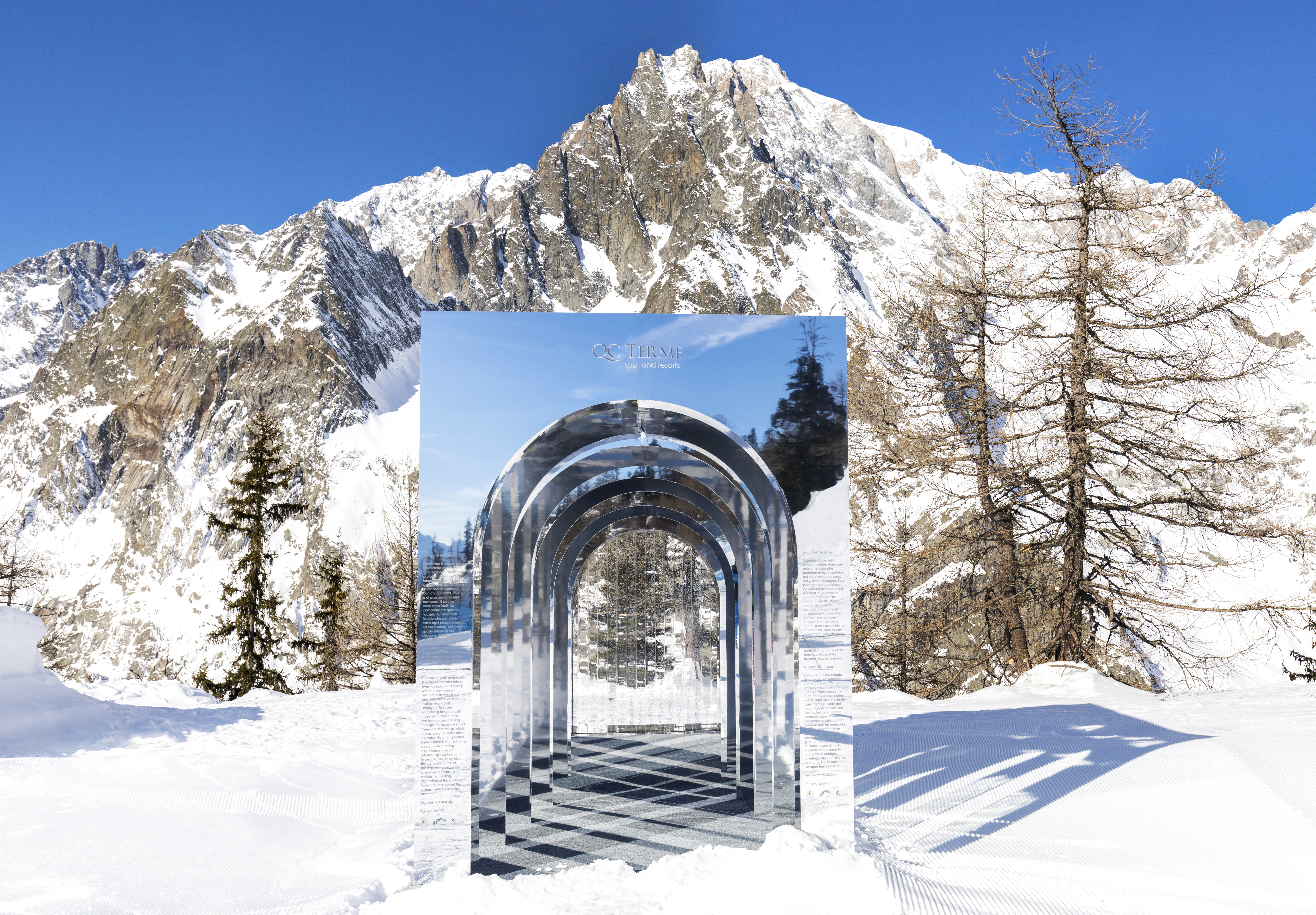 QC Terme il portale dell'aQCua l'opera d'arte più alta d'italia courmayeur mont blanc ilaria rebecchi matteo ragni designer italiano snow art montagna italiana creativity stories & news notizie creative arte italiana italiani italians designer italiani made in italy piste da sci valle d'aosta